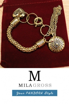 """Красивый золотой браслет в цвете античного золота """"Бижу"""""""