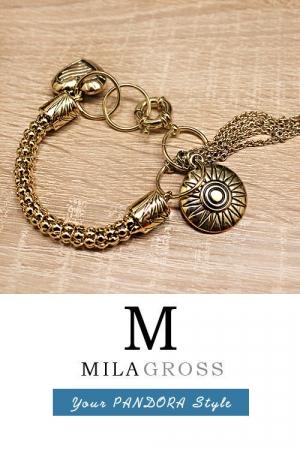 """Красивый позолоченный браслет в цвете античного золота """"Бижу"""""""