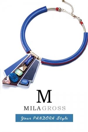 """Дизайнерское авангардное колье с камнями ручной работы """"Picasso Blue"""""""
