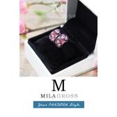 """Бусина Пандора муранское стекло """"Бардовые цветы"""" (lampwork)"""