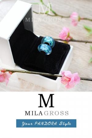 """Бусина Пандора муранское стекло """"Голубые-зеленые цветы"""" (lampwork)."""