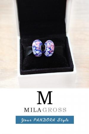 Бусина Пандора муранское стекло голубые цветы (elite)