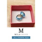 Голубая бусина пузырьки Мурано