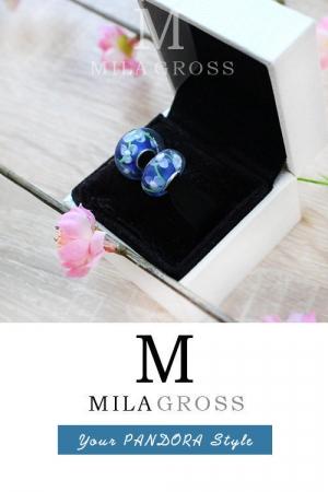 """Бусина Пандора муранское стекло """"Синие цветы"""" (lampwork)"""