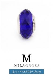 Тёмно-синяя бусина муранское стекло граненая (ювелирный сплав)
