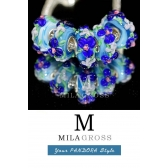 "Бусина мурано ""Парад цветов, голубой"" (Elite edition)"