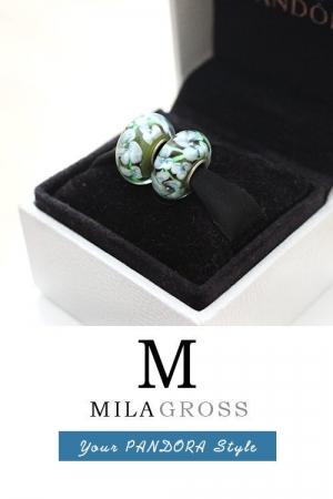 Бусина муранское стекло Зеленые цветы (elite)