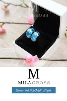 Бусина Пандора муранское стекло Голубой подснежник (lampwork)