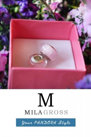 Розовая бусина пузырьки Мурано