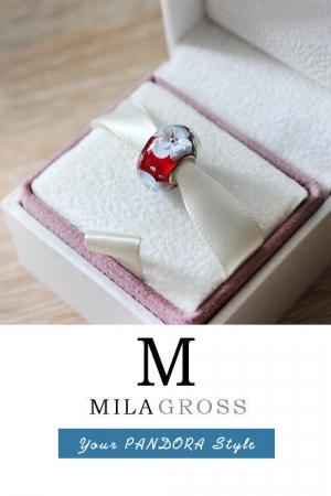Бусина Муранкское стекло красные цветы (elite)