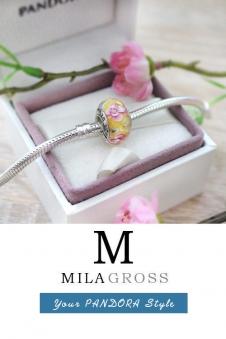 Бусина Пандора муранское стекло желто-розовые цветы