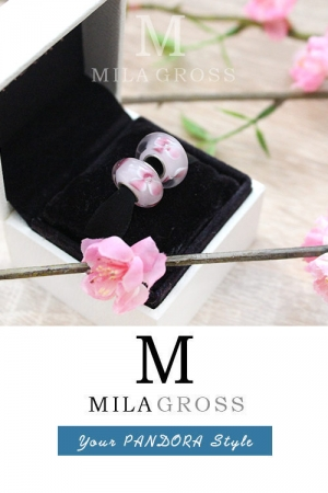 Бусина Пандора муранское стекло Розовая вишня (lampwork).