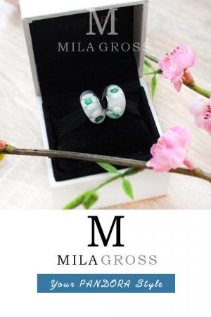 """Бусина Пандора муранское стекло """"Бело-зеленые ромашки"""" (lampwork)"""