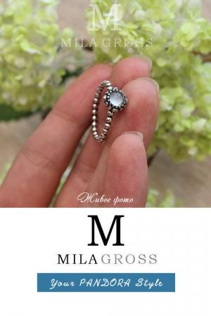 "Кольцо Pandora из коллекции Birthstones ""Апрель"", серебро. УЦЕНКА!"