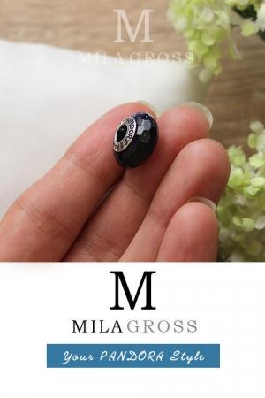 Черно-синяя космическая муранка с блестками (серебро)