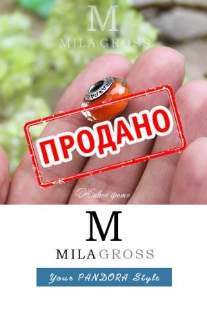 """Бусина Пандора муранское стекло """"Оранжевый закат"""" УЦЕНКА (серебро)"""