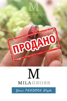 """Красная люминисцентная мурано Disney """"Белоснежка"""" (серебро)"""