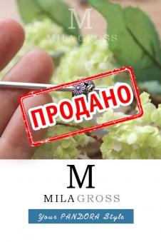 """Шарм Пандора """"Фиолетовые маргаритки"""" (серебро 925 пробы)"""