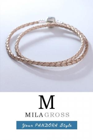 Бежевый двойной кожаный браслет Pandora перламутровый (серебро)
