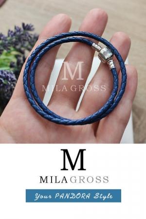 Синий двойной кожаный браслет Пандора (серебро)
