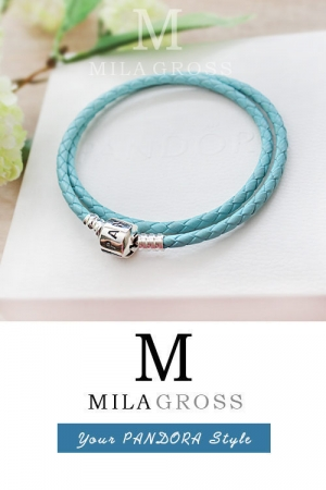 Небесно-голубой двойной кожаный браслет Пандора (серебро 925)