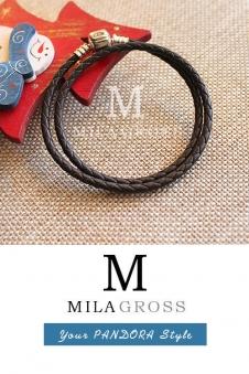 Кофейно-коричневый двойной кожаный браслет Пандора (серебро)