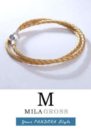 Золотистый двойной кожаный браслет Пандора перламутровый (серебро)