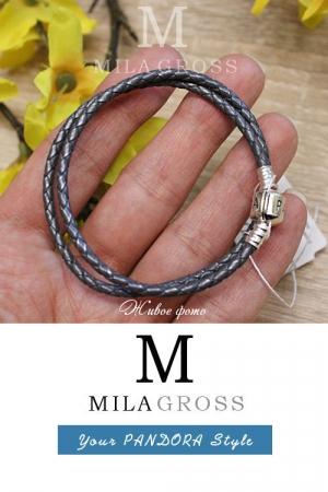 Кожаный серый двойной браслет Пандора (серебро)
