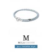Перламутровый голубой двойной кожаный браслет Пандора (серебро)