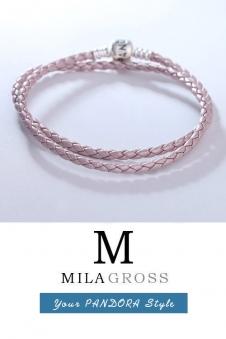 Двойной кожаный перламутровый розовый браслет Pandora (серебро)