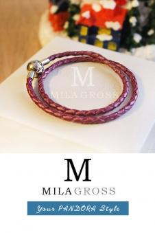 Перламутровый малиновый двойной кожаный браслет Пандора (серебро)
