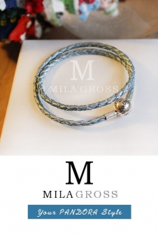 Перламутровый серо-голубой двойной кожаный браслет Пандора (серебро)