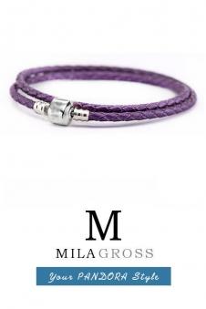 Фиолетовый двойной кожаный браслет Pandora (серебро 925 пробы)