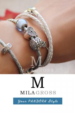 Белый двойной кожаный браслет Пандора (серебро 925 пробы)