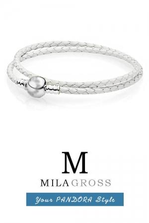 Белый двойной кожаный браслет Пандора с круглой застежкой p-lock (серебро)