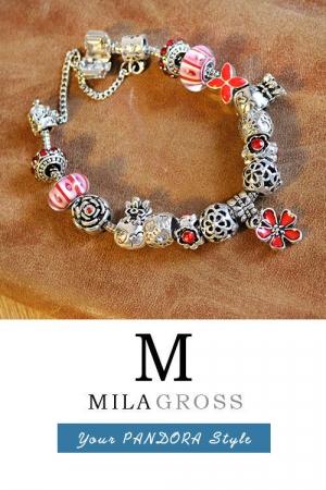 """Браслет Пандора стиля с красными бусинами Мурано """"Хризантема"""" (Горячая цена!)"""