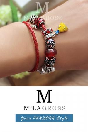 """Кожаный красный браслет Пандора стиля из коллекции Disney """"Белоснежка"""""""