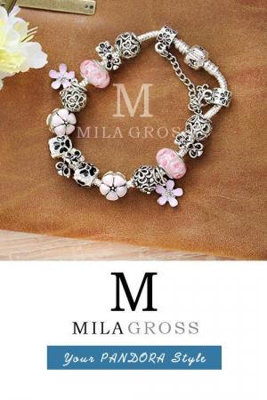 """Браслет Пандора стиля с розовыми бусинами Мурано """"Рассвет Pink"""" (горячая цена!)"""