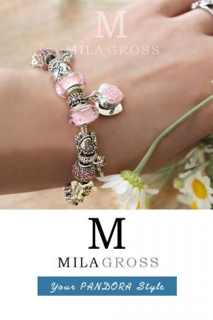 """Браслет Пандора стиль из недорогой весенней коллекции """"Roza (Pink, White)"""""""