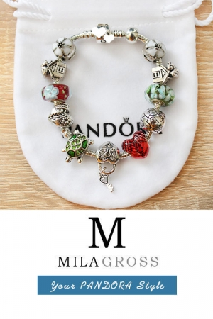 """Летний браслет Пандора стиля с бусинами из муранского стекла """"Яркость"""""""