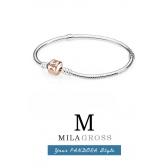 Классический серебряный браслет-основа Пандора с золотистым замком