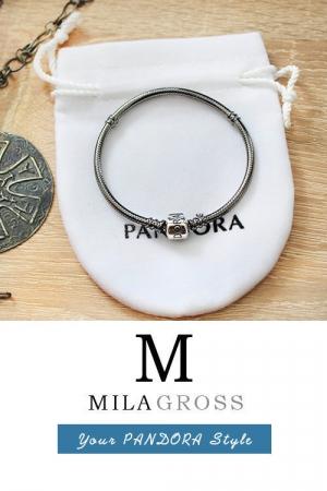 Cеребряная основа Пандора с чернением (темное серебро)