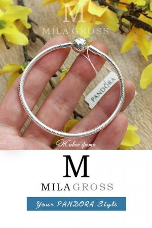 Браслет Пандора с круглым замком без перемычек (Smooth bracelet), серебро