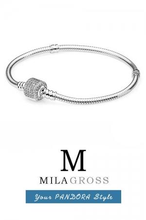 Классическая основа-браслет Пандора с замком паве (серебро)