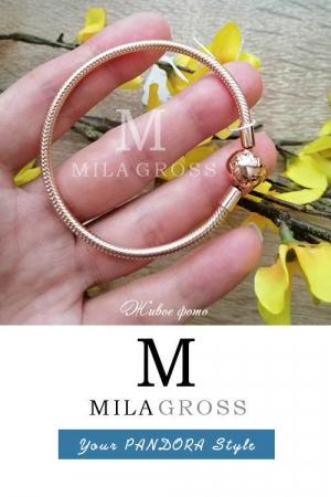 Браслет с позолотой Пандора Rose (Pandora Rose Smooth Bracelet), серебро