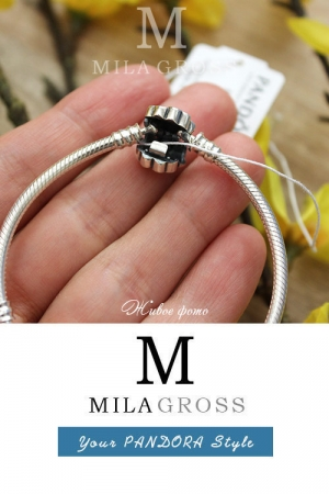 Серебряный браслет основа Пандора Wildflower meadow (Полевой луг), серебро