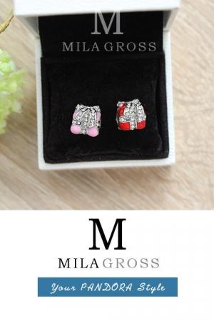 """Шарм Пандора """"Красный и розовый подарок с камнями"""" (люкс качество)"""