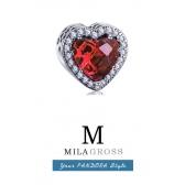 """Шарм Пандора """"Radiant heart"""" (лучистое сердце - красный, синий), ювелирная бижутерия люкс"""