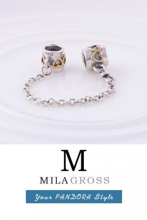 Защитная цепочка для браслета Пандора с золотыми сердечками (серебро)