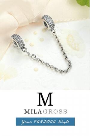 Защитная цепочка Пандора с камушками паве (серебро)